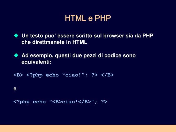 HTML e PHP