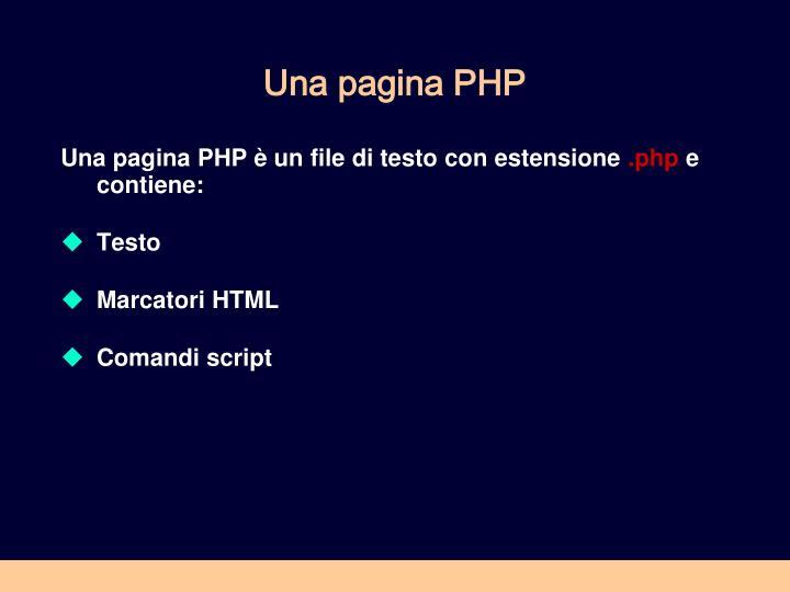 Una pagina PHP