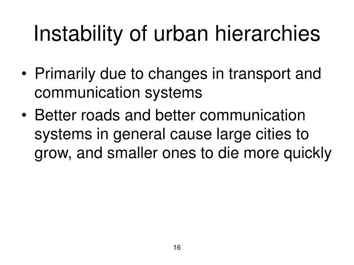 Instability of urban hierarchies