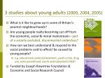 3 studies about young adults 2000 2004 2005