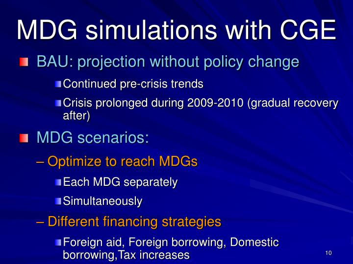 MDG simulations with CGE