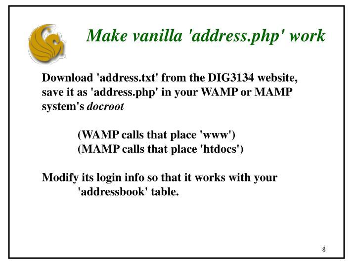 Make vanilla 'address.php' work