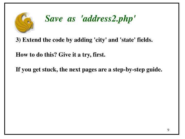Save  as  'address2.php'