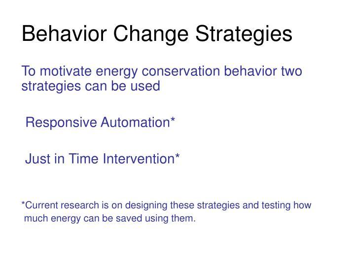 Behavior Change Strategies