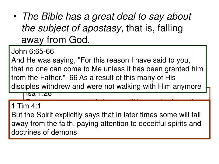 The Bible has a great deal to say about the subject of apostasy
