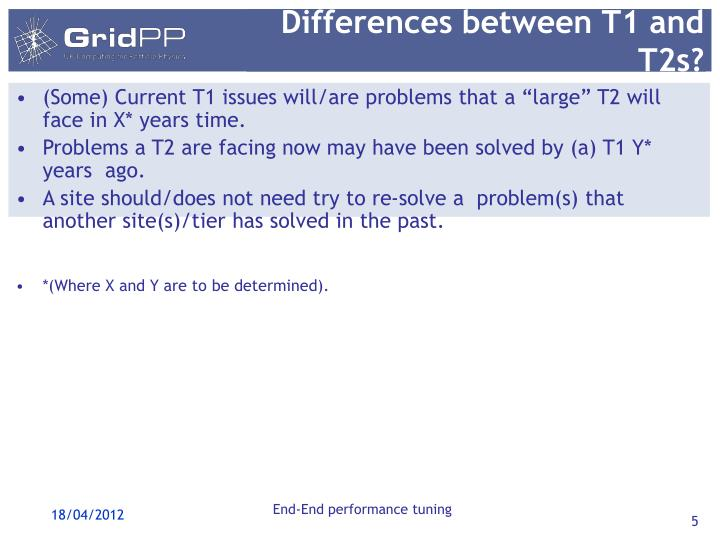 Differences between T1 and T2s?