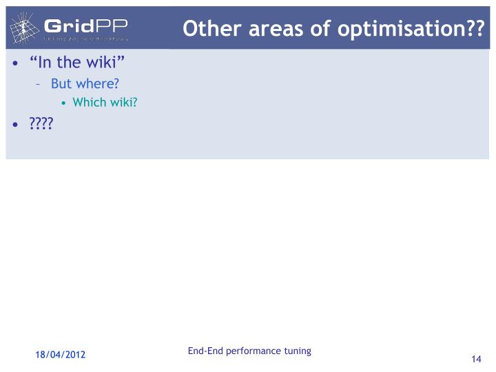 Other areas of optimisation??