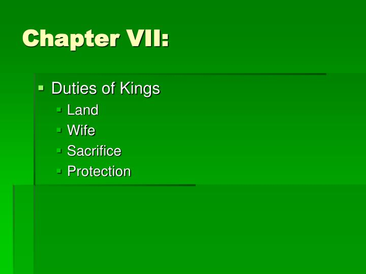 Chapter VII:
