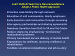 joint va dod task force recommendations adopt a public health approach