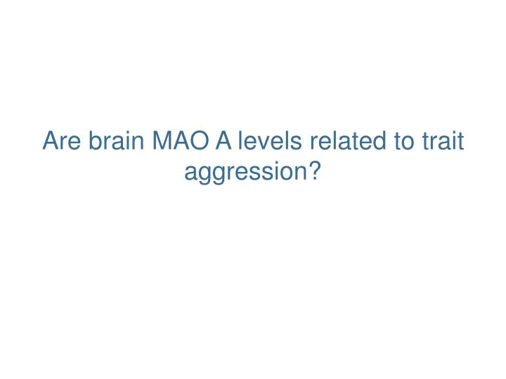 Are brain MAO A levels related to trait aggression?