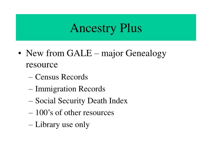 Ancestry Plus