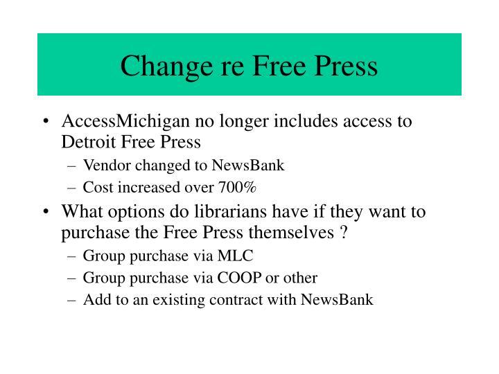 Change re Free Press