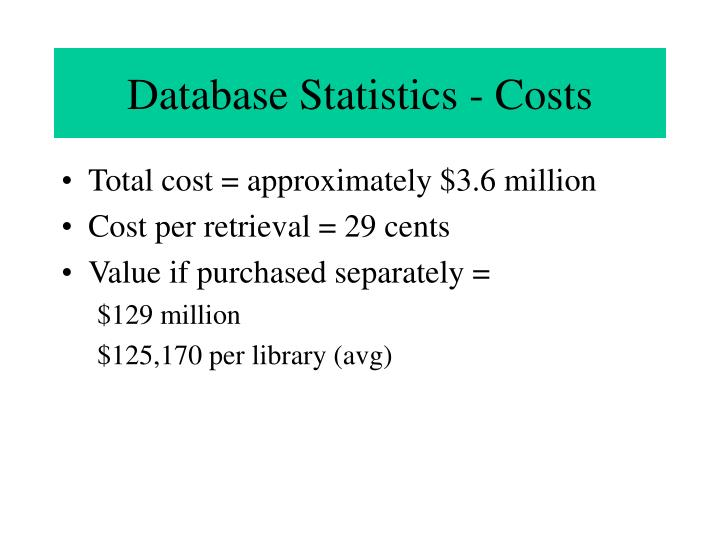 Database Statistics - Costs