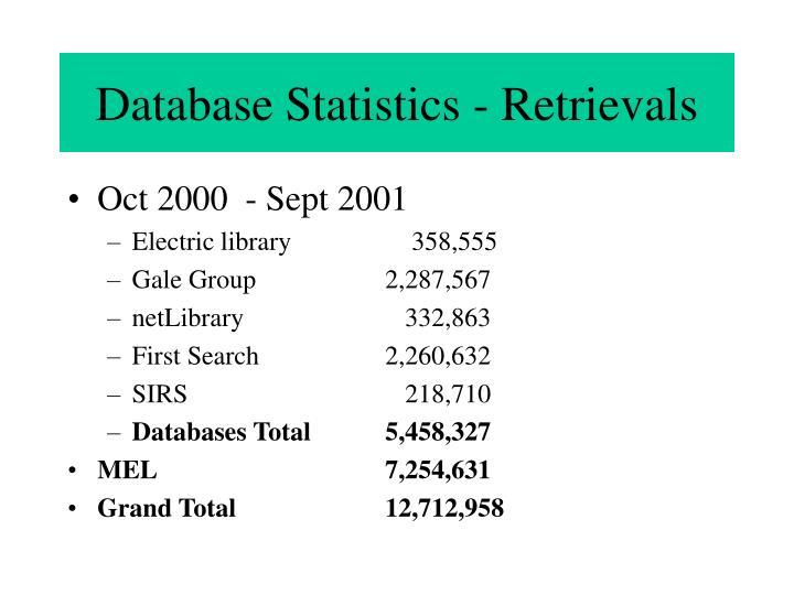Database Statistics - Retrievals
