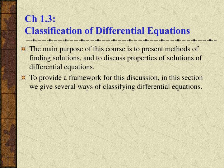 Ch 1 3 classification of differential equations