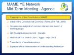 mame ye network mid term meeting agenda