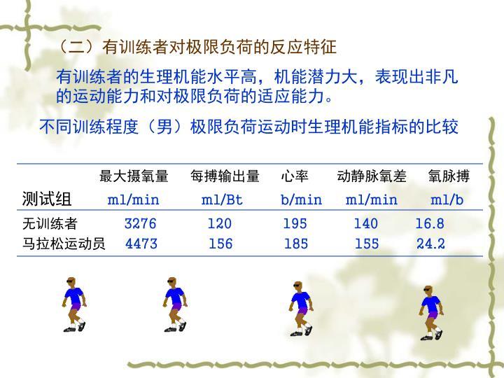 (二)有训练者对极限负荷的反应特征