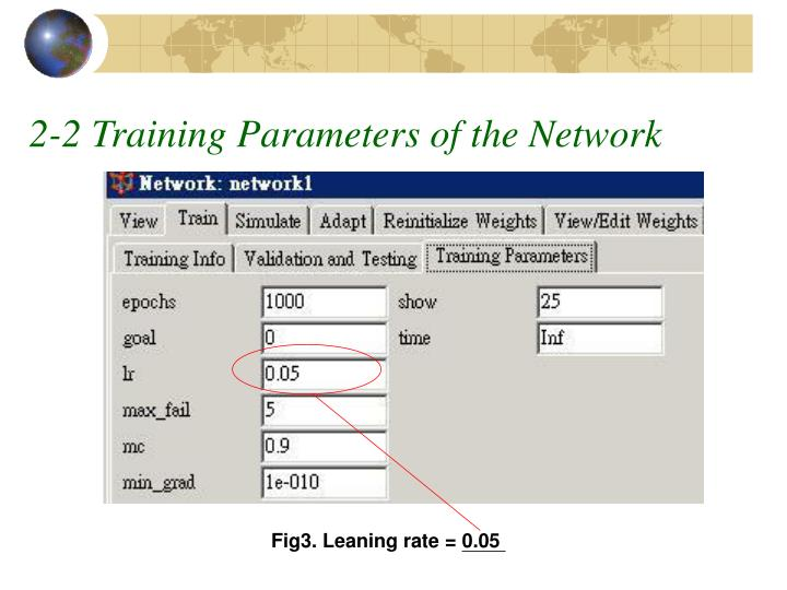 2-2 Training Parameters of the Network
