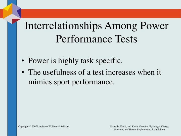 Interrelationships Among Power Performance Tests