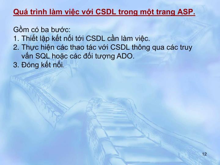 Quá trình làm việc với CSDL trong một trang ASP.