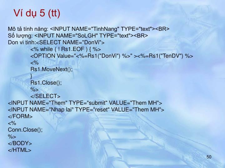 Ví dụ 5 (tt)
