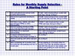 rules for monthly supply selection a starting point