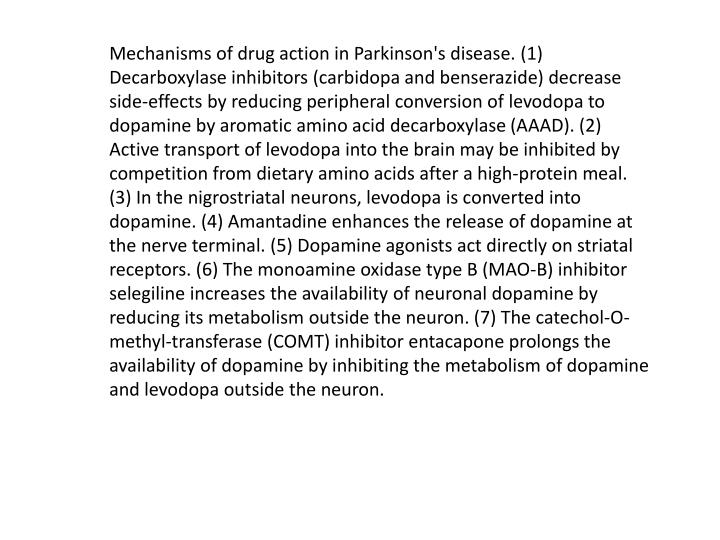 Mechanisms of drug action in Parkinson's disease. (1)