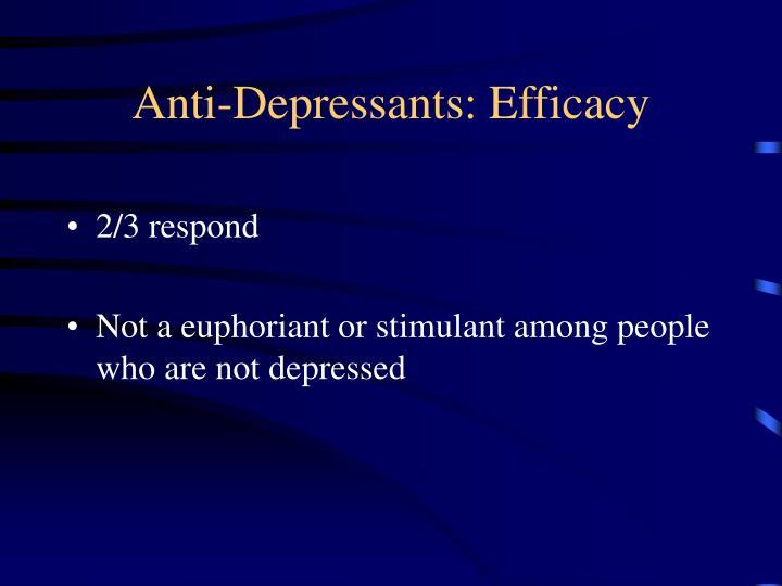 Anti-Depressants: Efficacy