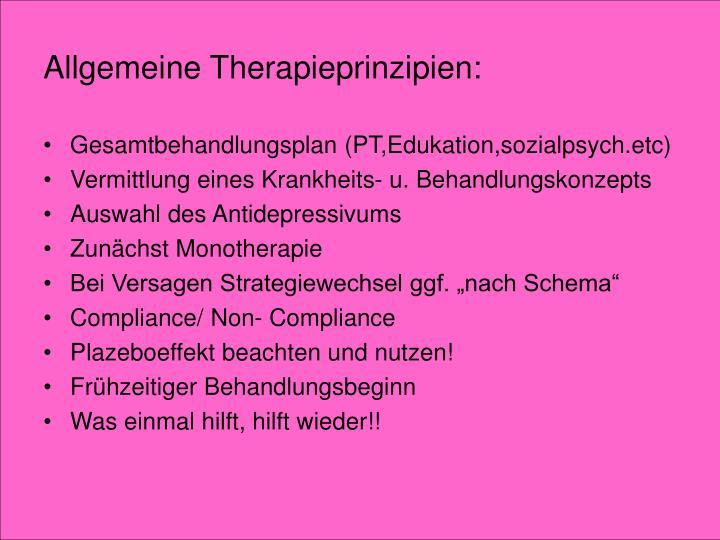 Allgemeine Therapieprinzipien: