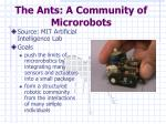 the ants a community of microrobots