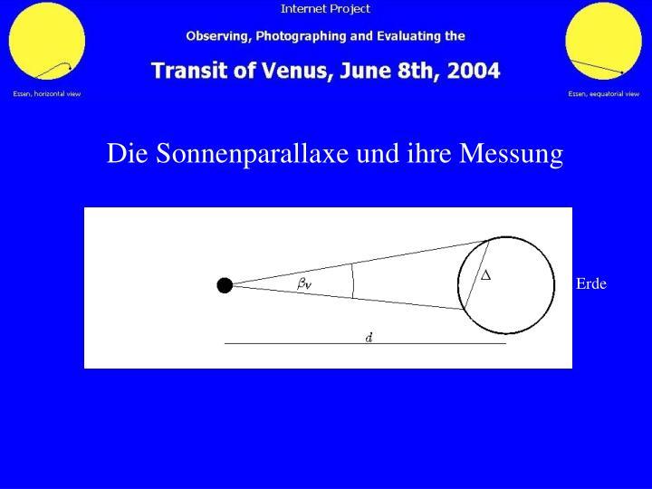 Die Sonnenparallaxe und ihre Messung