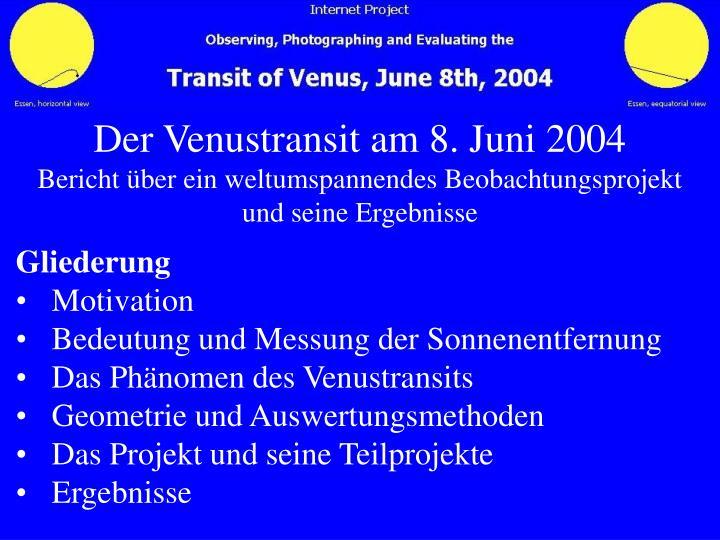 Der Venustransit am 8. Juni 2004