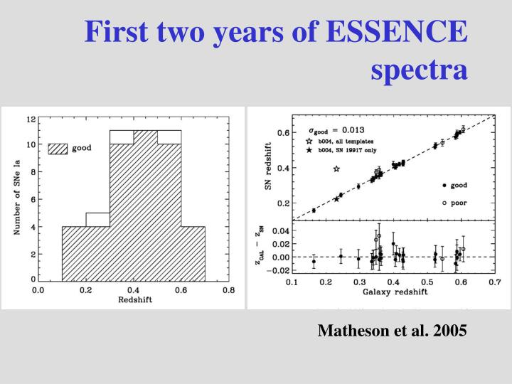 First two years of ESSENCE spectra