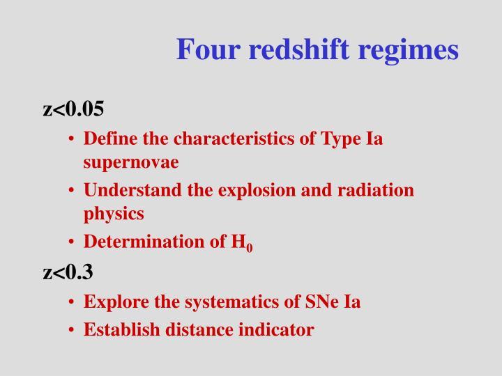 Four redshift regimes