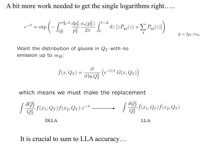 A bit more work needed to get the single logarithms right…..