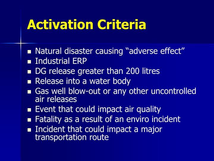 Activation Criteria