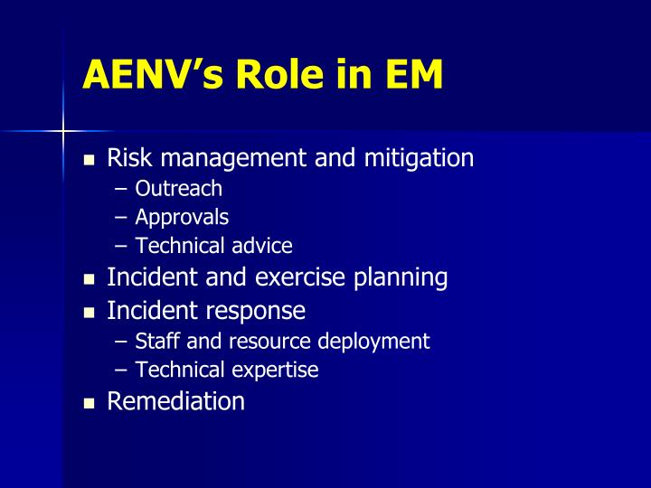 Aenv s role in em