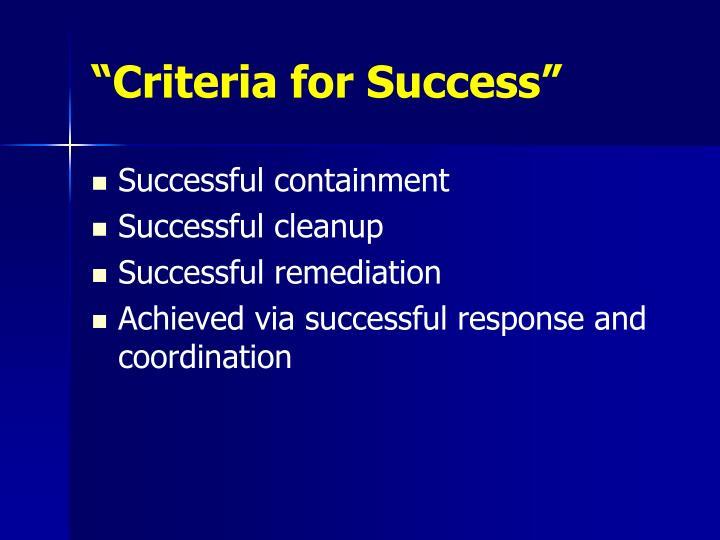 """""""Criteria for Success"""""""