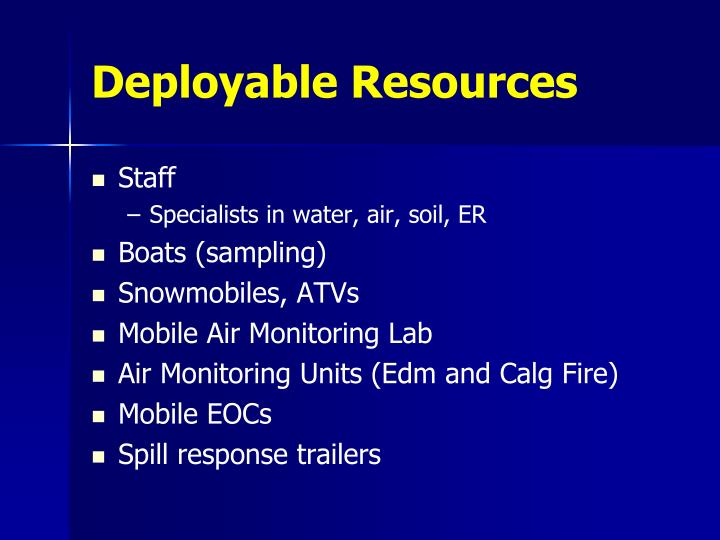 Deployable Resources
