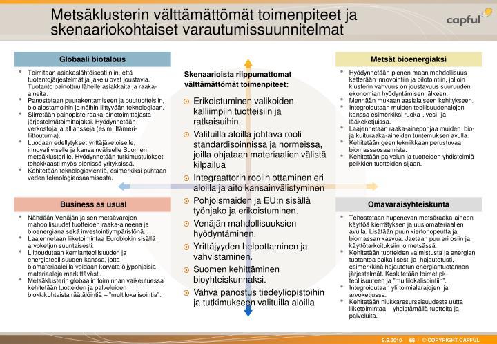 Metsäklusterin välttämättömät toimenpiteet ja skenaariokohtaiset varautumissuunnitelmat