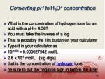 converting ph to h 3 o concentration