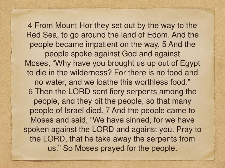 """4 From Mount Horthey set out by the way to the Red Sea,to go around the land of Edom. And the people became impatient on the way. 5 And the people spoke against God and against Moses,""""Why have you brought us up out of Egypt to die in the wilderness? For there is no food and no water, and we loathe this worthless food."""" 6Then the LORD sent fiery serpents among the people, andthey bit the people, so that many people of Israel died. 7And the people came to Moses and said, """"We have sinned, for we have spoken against the LORD and against you. Pray to the LORD, that he take away the serpents from us."""" So Moses prayed for the people."""