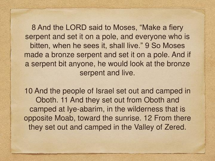 """8 And the LORD said to Moses, """"Make a fiery serpent and set it on a pole, and everyone who is bitten, when he sees it, shall live."""" 9 So Moses made a bronzeserpent and set it on a pole. And if a serpent bit anyone, he would look at the bronze serpent and live."""