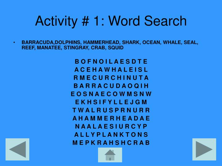 Activity # 1: Word Search