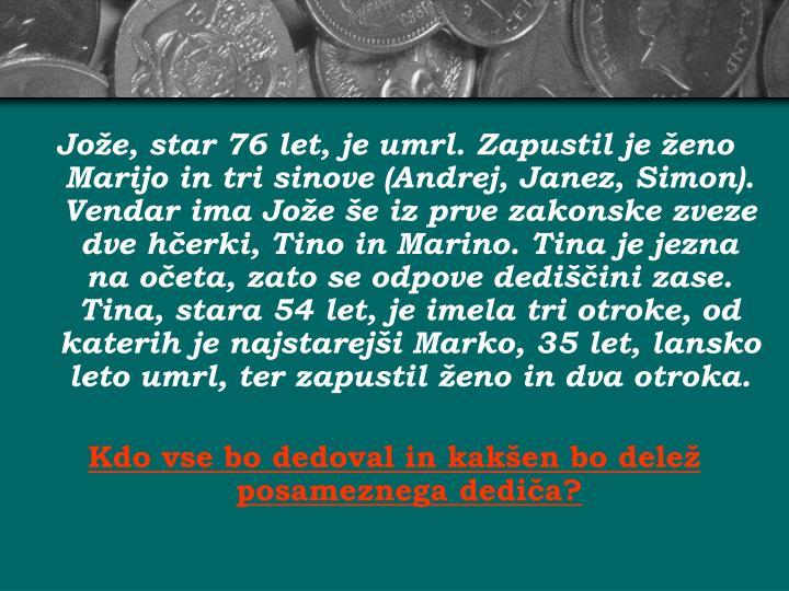 Jože, star 76 let, je umrl. Zapustil je ženo Marijo in tri sinove (Andrej, Janez, Simon). Vendar i...