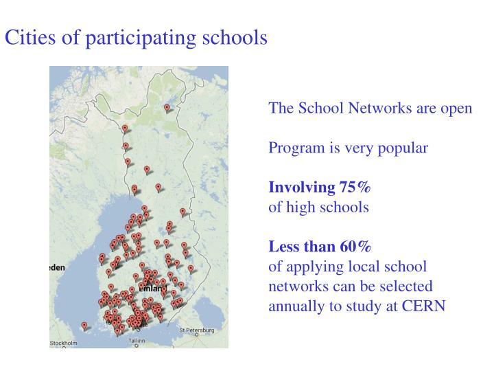 Cities of participating schools