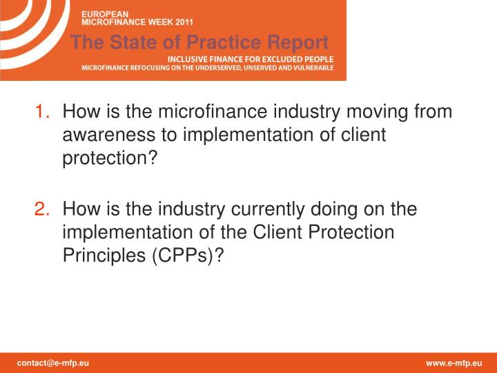 The State of Practice Report
