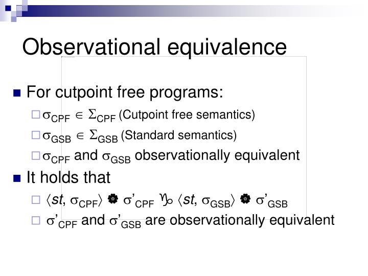 Observational equivalence