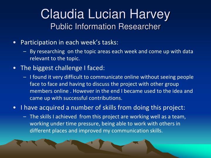 Claudia Lucian Harvey