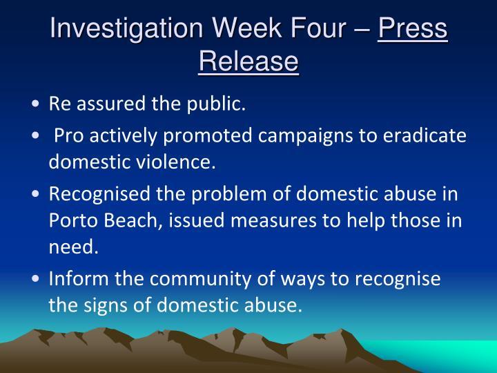 Investigation Week Four –